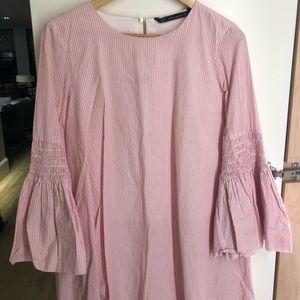 Zara mini dress. Pink and white stripe. Zip back.